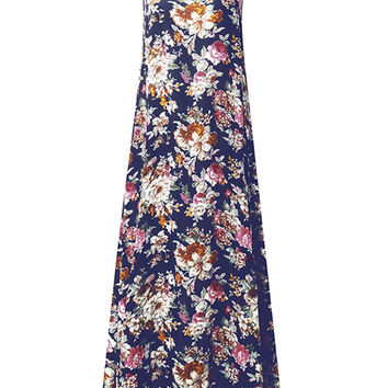 Women Spaghetti Strap Floral Printed Summer Long Maxi Dresses