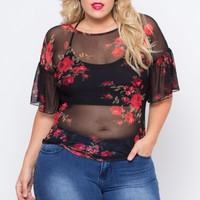 Plus Size Floral Rose Mesh Blouse - Black