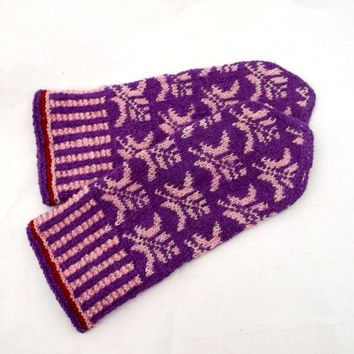 Hand knitted wool latvian mittens, purple pink mitts, colorful folk winter gloves, knit nordic adult arm warmers, knitting accessories muffs