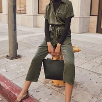 Jacintha Olive Green Satin Short Sleeve Jumpsuit