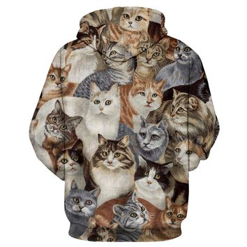 Covered in Cats Long Sleeve Hoodie