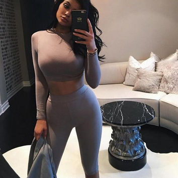 2016 Women Two Piece Outfits Pants Set Romper Fitness Sexy Jumpsuit Long Sleeve O-Neck Crop Top Bodycon Sportswear Palysuit S-XL