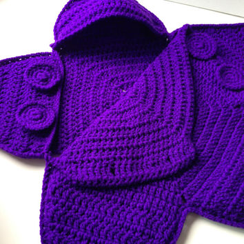 Baby Bunting Bag - Purple Amethyst Star Bunting - Handmade Crochet - Made to Order