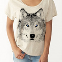 Womens WOLF Face Head BOHO Bohemian Oversized Slouchy T shirt screen print Top Dreamer Tee Alternative Apparel S M L XL More colors