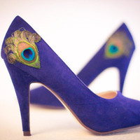 New Years Sale ... Navy Peacock Pumps ... Size 7