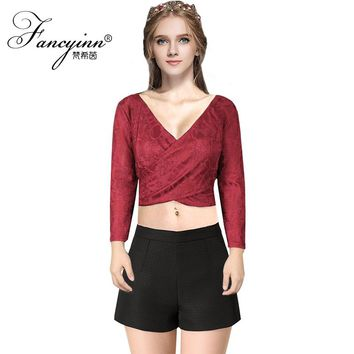 FANCYINN Women's Clubwear Sexy Bodycon 3/4 Sleeve V Neck Lace Cross Front Crop Tops Tank
