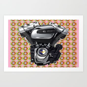 Pink Portuguese Biker collage Art Print by Tony Silveira