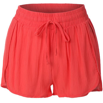 LE3NO Womens Elastic Waist Summer Beach Shorts (CLEARANCE)