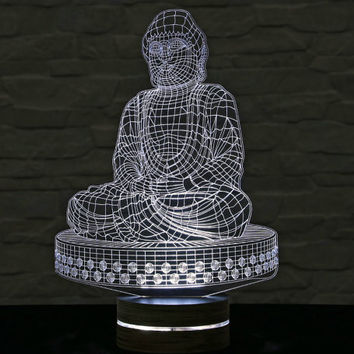 Buddha Shape, 3D LED Lamp, Buddha Art, Buddha, Calming Light, Acrylic Lamp, Yoga Art, Office Decor, Artistic Lamp, Table Light, Night Light