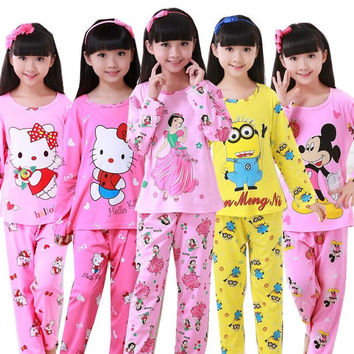 spring autumn Childrens hello kitty clothing Sets Boys Girls Tops+pants Cotton Pijamas kids Cartoon Sleepwear Pajamas 3-12Y