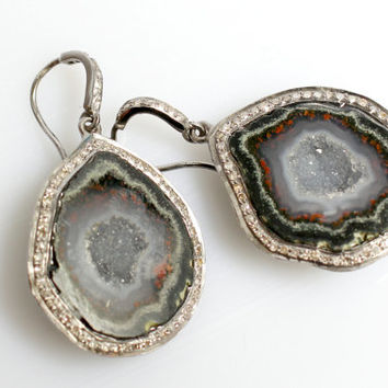 Geode and Pave Diamond Earrings