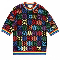 Gucci Tee Shirt Bouncing sugar Double G Colorful Print Rainbow Top