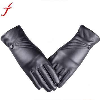 Leather Cashmere Black Gloves