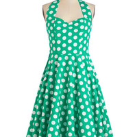 ModCloth Rockabilly Long Halter Fit & Flare Like, Oh My Dot! Dress in Emerald