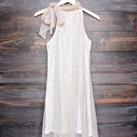 Ryu lace bound dress in beige