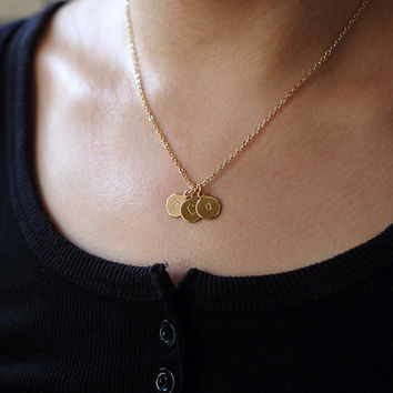 3 initials charm Initials Necklace, Tiny Gold Necklace, Gold Disc Necklace, Personalized Jewelry