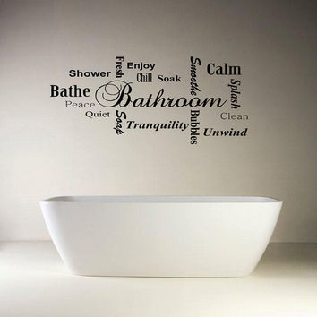 Bathroom Wall Quote Modern Word Cloud Montage Vinyl Decal Mural Graphic Art