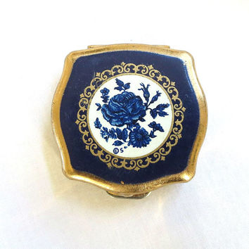 Vintage Stratton signed, Made in England, Blue Enamel & Gold Tone Floral Pill or Trinket Box