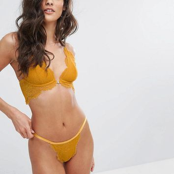 Free People Lace Underwire Bra & Pant Set at asos.com