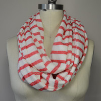 Striped Infinity Scarf - Coral and White Striped Sweater Circle Scarf - Striped Loop Scarf - Reala Clais