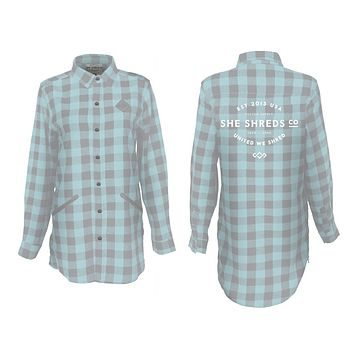 Teal & Gray Flannel Shirt