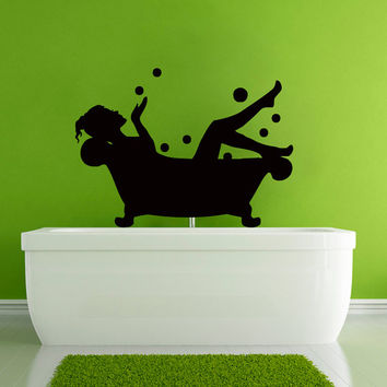 Wall Vinyl Sticker Decal  Girl on the Bathroom Shower Art Design Room Nice Picture Decor Hall Wall Chu1062