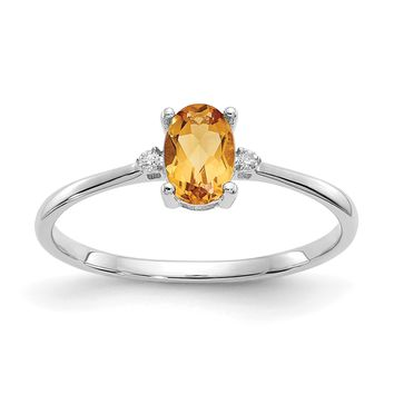 14k or 10k White Gold Diamond & Citrine Oval November Birthstone Ring