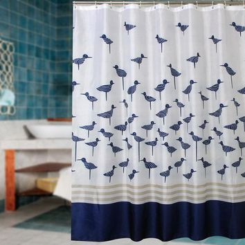 ICIK272 Fabric polyester blue lucky birds thicken waterproof shower curtains bathroom curtains waterproof coating curtains.