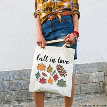 Fall tote bag-Fall in love tote bag-cool tote bag-back to school-gift idea-tote-school bag-college tote bag-grocery bag-autumn bag-NPTB107