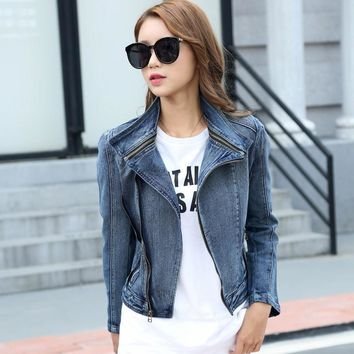 Trendy 2018 Spring Autumn  Star Jeans Women Slim Style Denim Cropped VINTAGE Jacket Coat, Zipper Jeans Coats for Woman Denim Cardigans AT_94_13