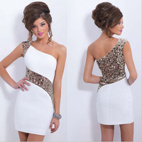Fashion Sequins  single shoulder Dress WJFDS