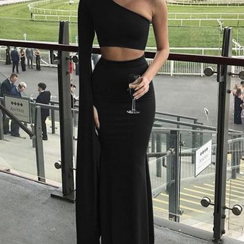 New Black Asymmetric Shoulder Cut Out Backless Two Piece Mermaid Prom Evening Party Maxi Dress
