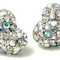 "Adorable AB and Clear Crystal Embellished 1/2"" Heart Stud Earrings Fashion Jewelry Gift"