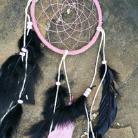 Pink Dream Catcher, Handmade Small 5 inch Dreamcatcher, Black Feathers Wall Hanging, Bedroom Decor, Traditional Native American Decore