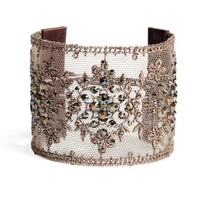 Chan Luu Bronze Shade Lace Cuff - Metallic Crystal Cuff - ShopBAZAAR