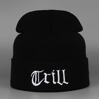 Trill Beanie Warm Winter Womens & Mens Ski Cap Knitted Black Cuffed Skully Hat