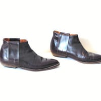 size 6.5 pointy ANKLE boots vintage 80s 90s MINIMALIST slip on Aldo WESTERN plum leather chelsea booties