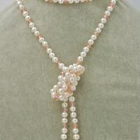 100inch Super Long Pearl Necklace With Pink Crystals