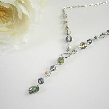 Vitrail Lariat Necklace - Y necklace Silver - Czech Glass Jewelry - Crystal Heart Jewel - Iridescent Necklaces - Layering Necklace - Gift