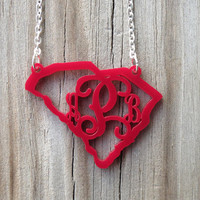 Free Shipping! State Monogram Acrylic Necklace - South Carolina - Personalized (All States and Many Colors Available)