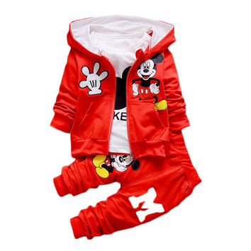 Mickey mouse Cotton tracksuits Children Kid baby Boy Cloth Set Autumn Winter 3pcs Set shirt+Hooded Coat+pants casual Suits Fall