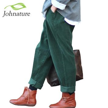 Johnature 2017 Women Corduroy Pants Vintage Spring Autumn Casual Thicken Warm Elastic Waist Loose Cotton Pleated Trousers
