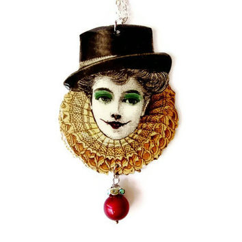 Circus Clown Necklace Harlequin Big Top Hat Carnival Burgundy Green Yellow Red Vintage Illustration Altered Art