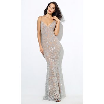 Evening Lights Silver Floral Glitter Sleeveless Spaghetti Strap Plunge V Neck Fit and Flare Maxi Dress