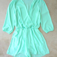 Coronado Romper in Mint [6897] - $36.00 : Feminine, Bohemian, & Vintage Inspired Clothing at Affordable Prices, deloom