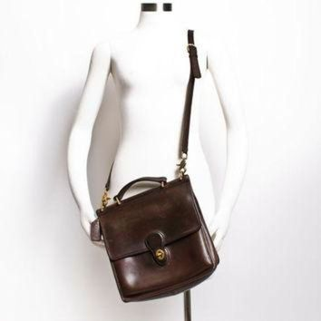ONETOW Vintage COACH Purse - 80s Brown Leather Coach Willis Adjustable Cross Body Satchel Bag