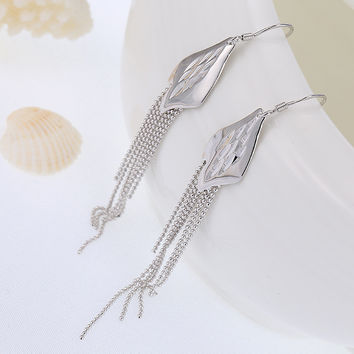 925 Silver Luxury Feather High Quality Accessory Earrings [7495281479]