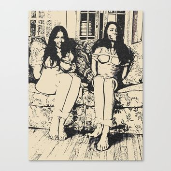 Slaves in Stereo - two girls is always better than one, bondage erotic nude, BDSM black and white Canvas Print by Peter Reiss