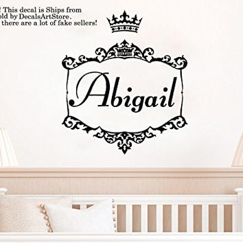 Crown Girls Wall Decals Custom Personalized Name Princess Sticker Tiara Frame Room Vinyl Decal Baby Kids Nursery Children's Decor Art Mural SM186