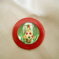 Little Christmas Tree Brooch - OOAK Holiday Pin made with Vintage